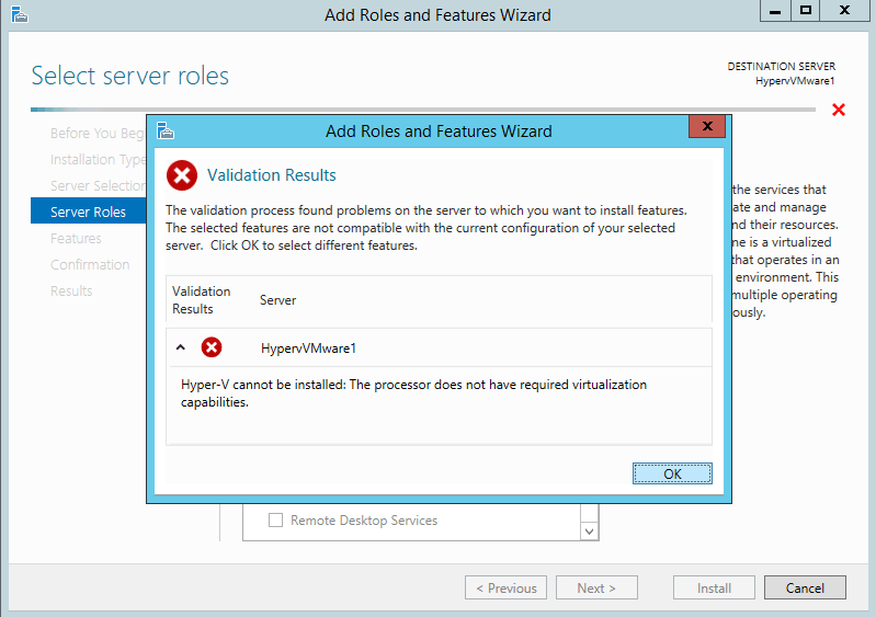 Hyper-V cannot be installed