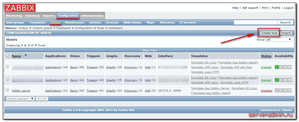 добавление в zabbix сайта для мониторинга