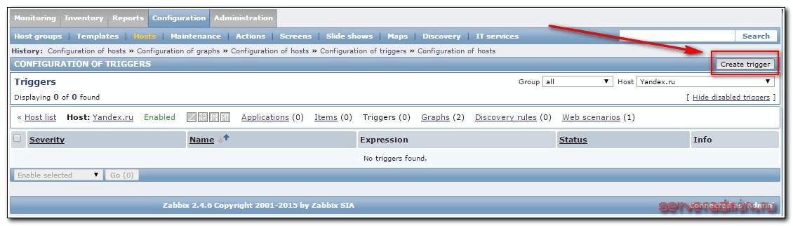 добавление триггера в zabbix