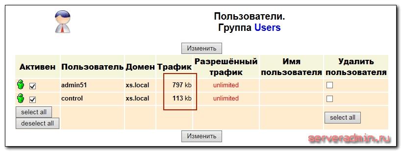 подсчет трафика пользователей
