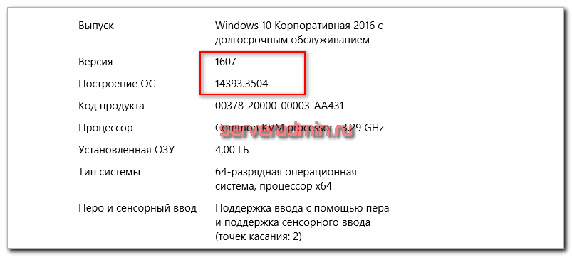 Версия Windows 10 для терминала