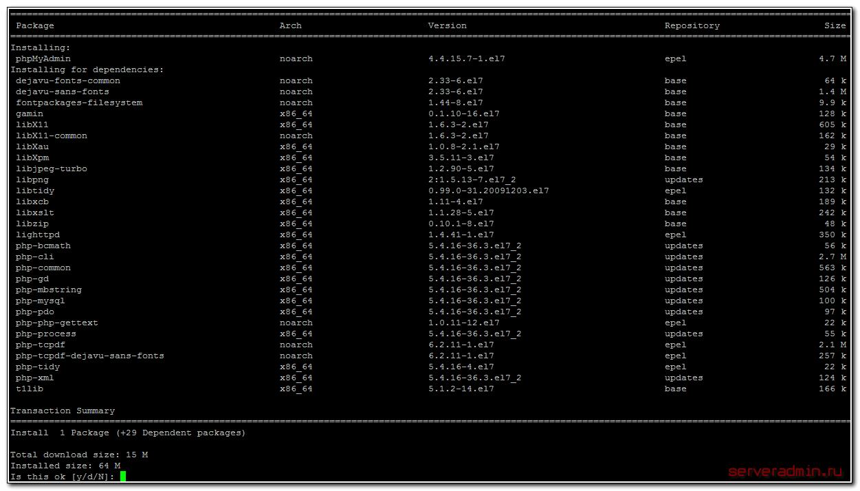 Установка phpmyadmin на CentOS 7