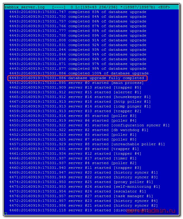 лог zabbix-server