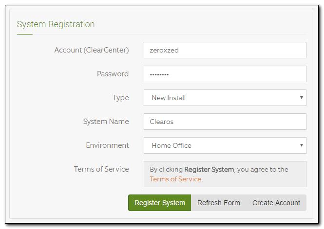 Регистрация системы