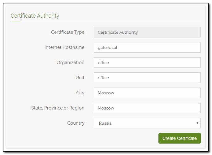 Параметры сертификата