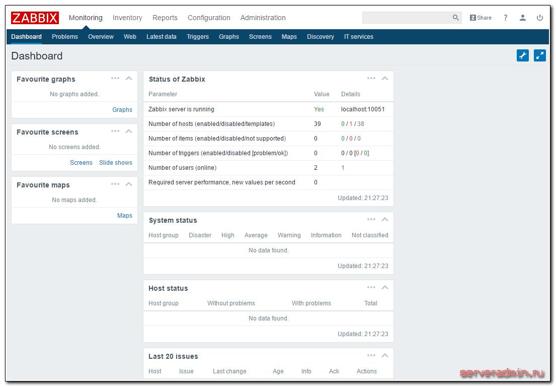 Главная страница интерфейса управления