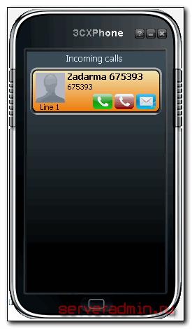 Отображение на экране транка входящего звонка