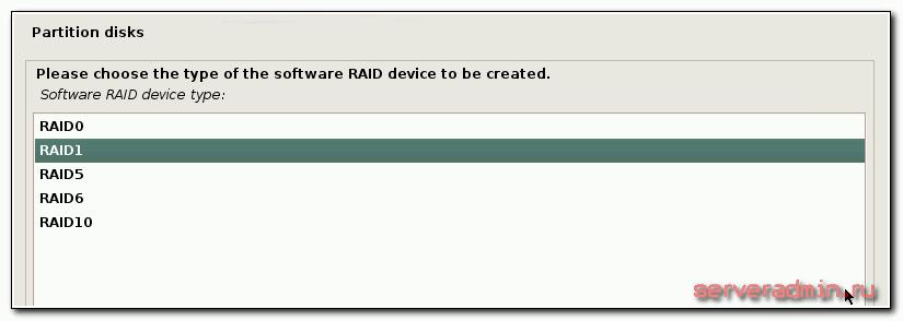 Тип рейда - raid1