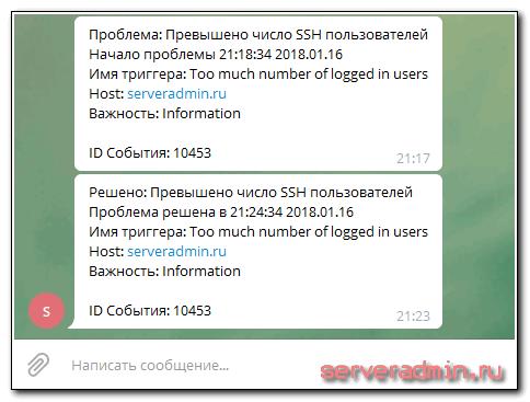 Пример уведомления в телеграме
