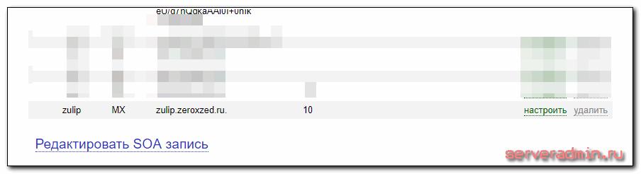 mx запись в dns для сервера зулип