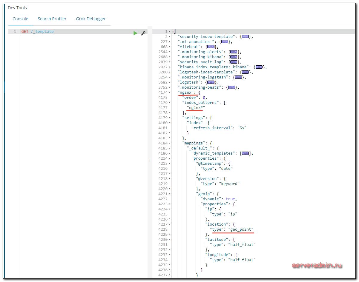 Новый шаблон для логов nginx в elasticsearch
