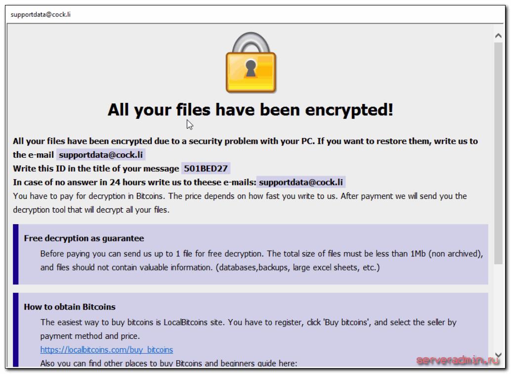 Все ваши файлы зашифрованы