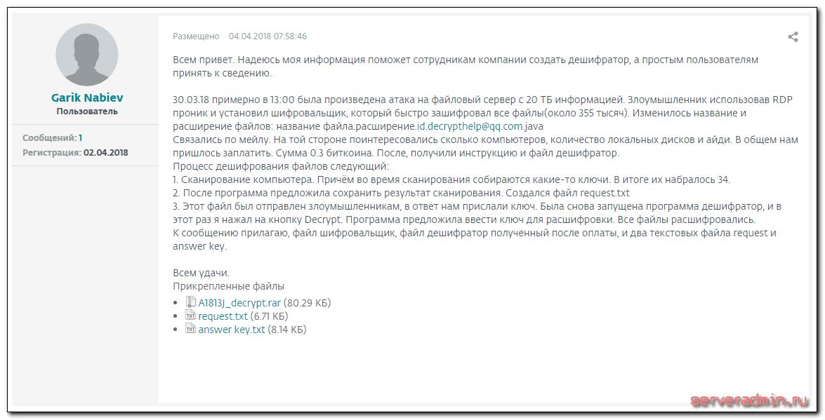 Зашифрованы 20 Тб данных !!!