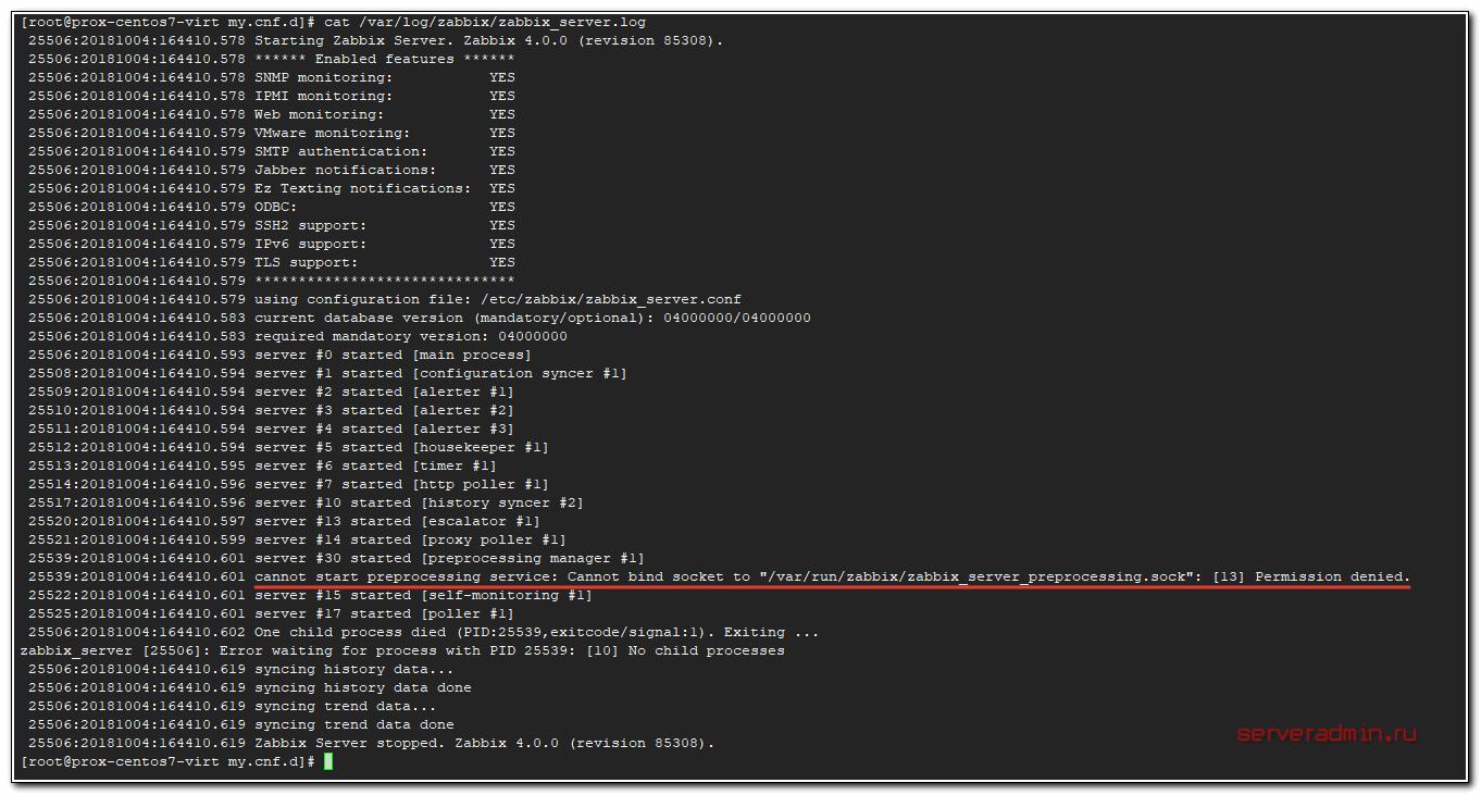 Лог запуска Zabbix Server