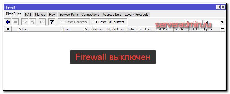 Отключение firewall на mikrotik