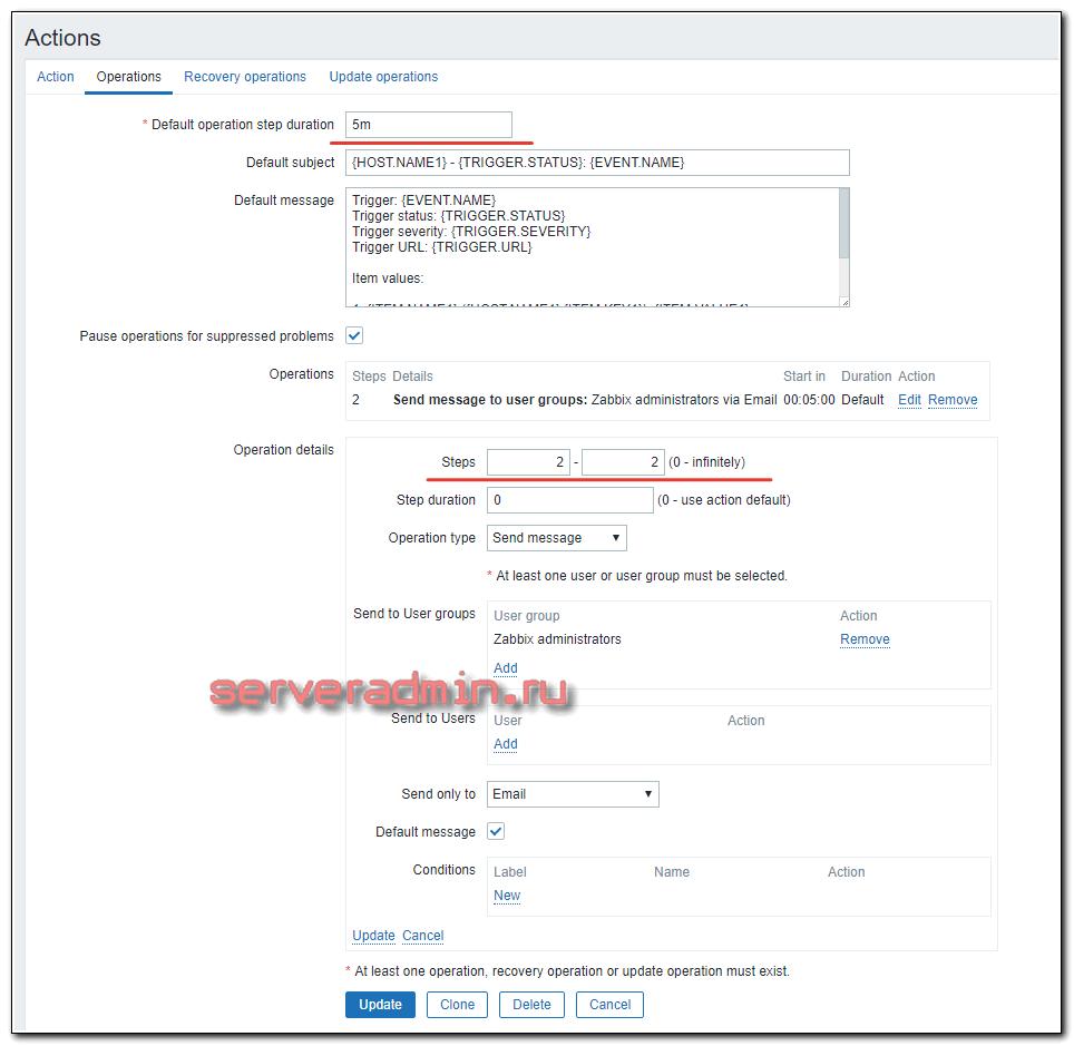Отложенные уведомления в zabbix