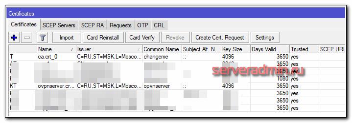 Импорт сертификатов для openvpn