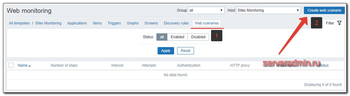 Создание web сценария мониторинга сайта