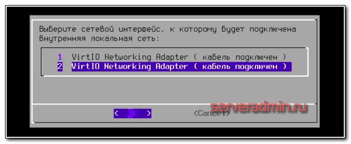 Выбор сетевого интерфейса