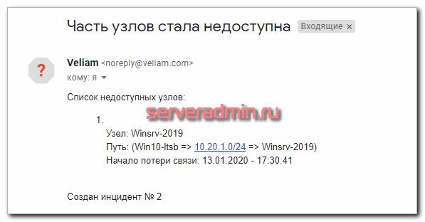 Уведомление от системы Veliam