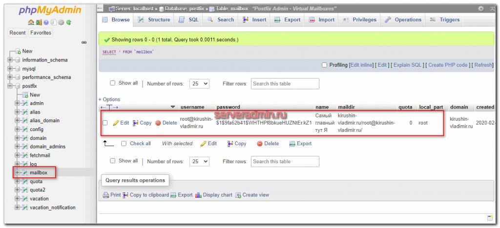 Проверка ящика в mysql базе