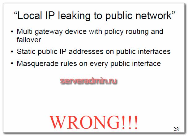 Локальный ip адрес виден в публичной сети