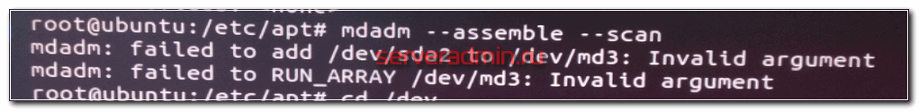 mdadm: failed to add /dev/sda2 to /dev/md3: Invalid argument