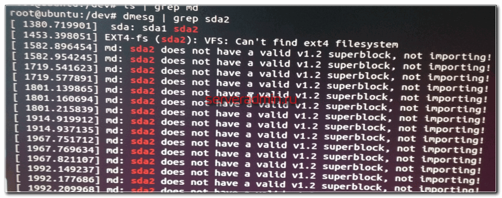 md: sda2 does not have a valid v1.2 superblock, not importing!