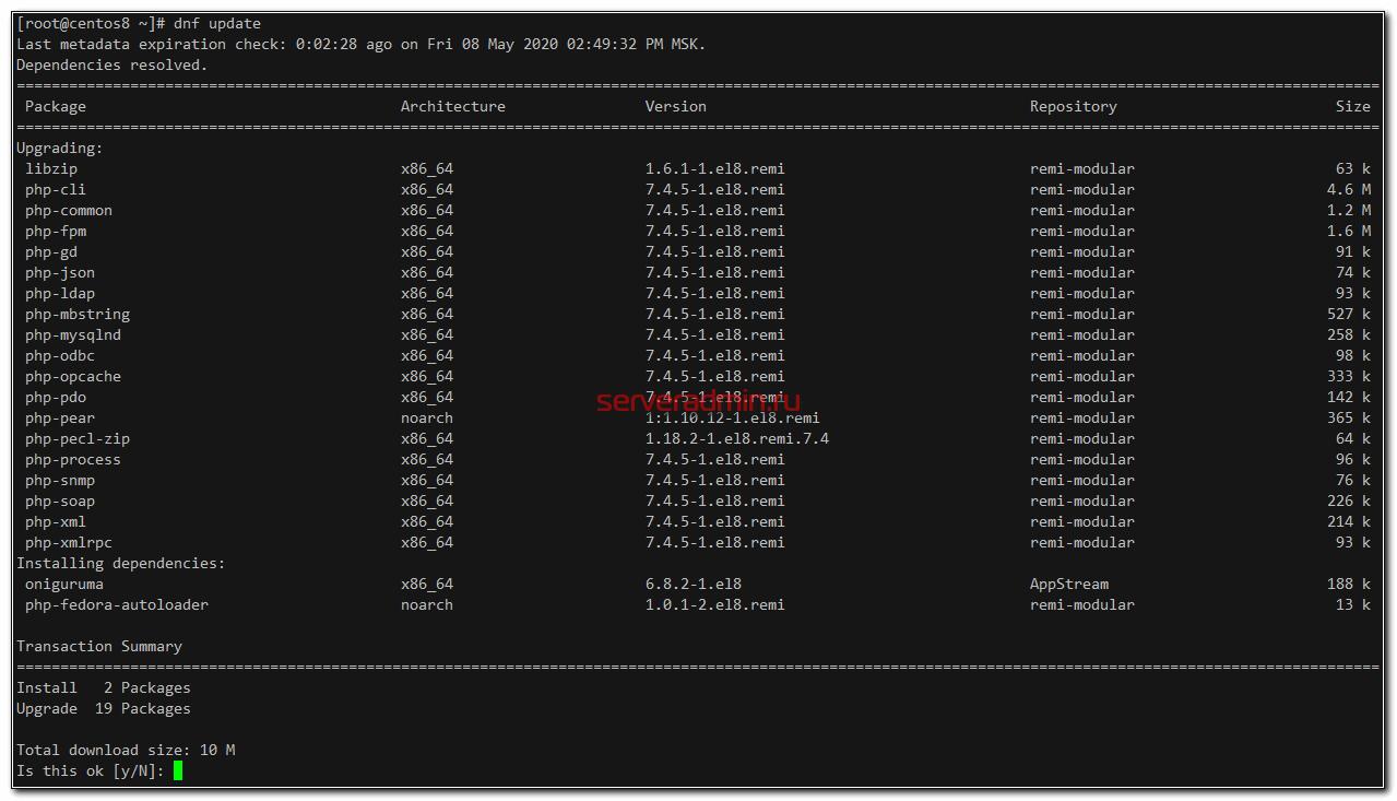 Обновление php 7.2 до 7.4 в Centos 8