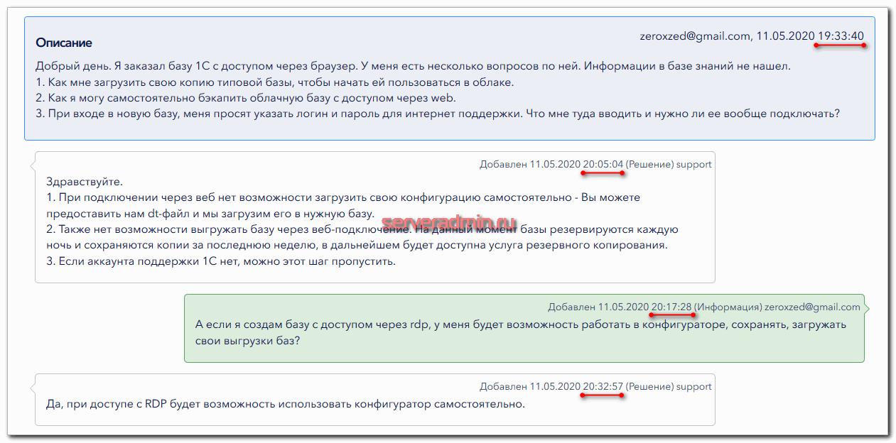 Работа тех поддержки serverspace