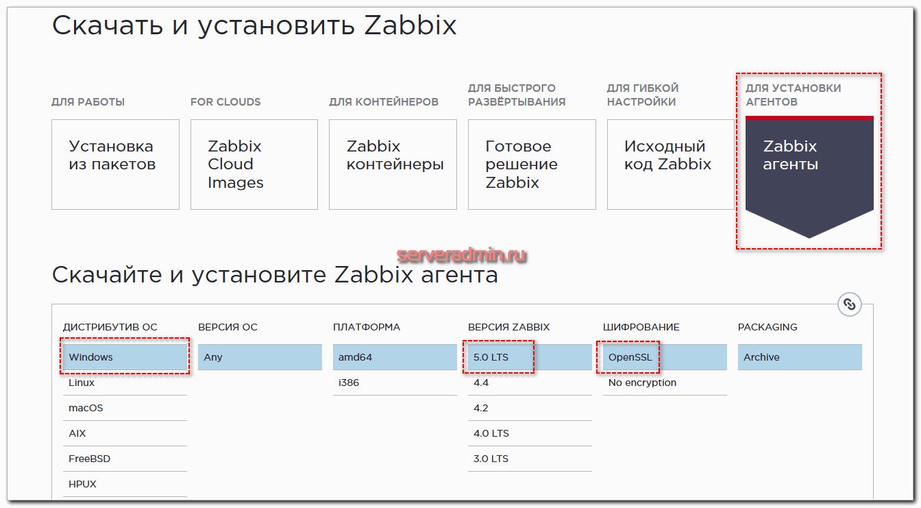 Установка Zabbix Agent в Windows