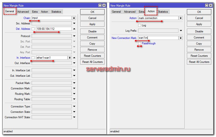 Маркировка соединений с двух WAN интерфейсов в Mikrotik