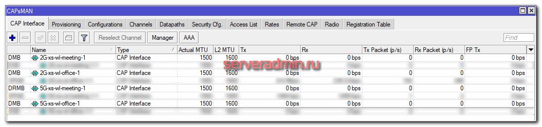 Список виртуальных интерфейсов на контроллере capsman