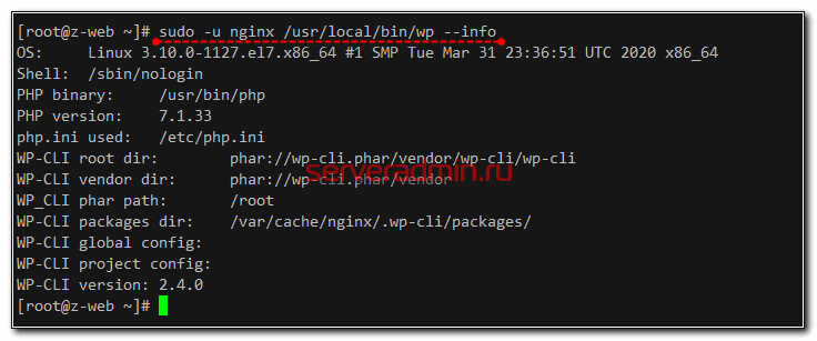 Проверка wp-cli на wordpress