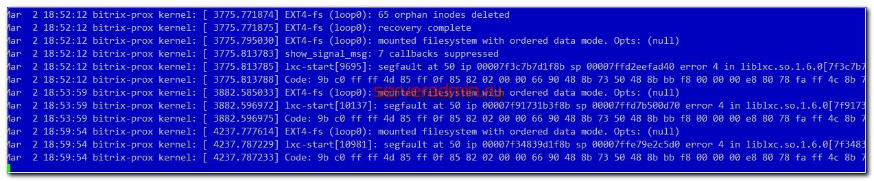 lxc-start: segfault at 50 ip error 4 in liblxc.so.1.6.0