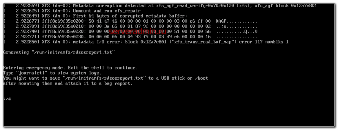 Metadata corruption detected, unmount and run xfs_repair