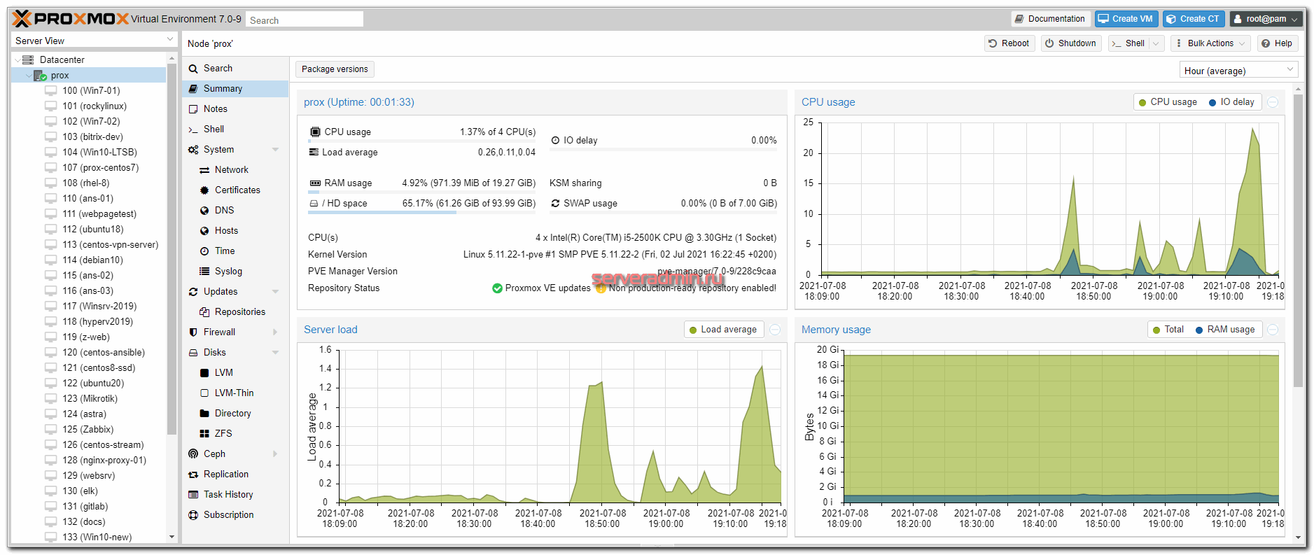 Web интерфейс Proxmox VE 7