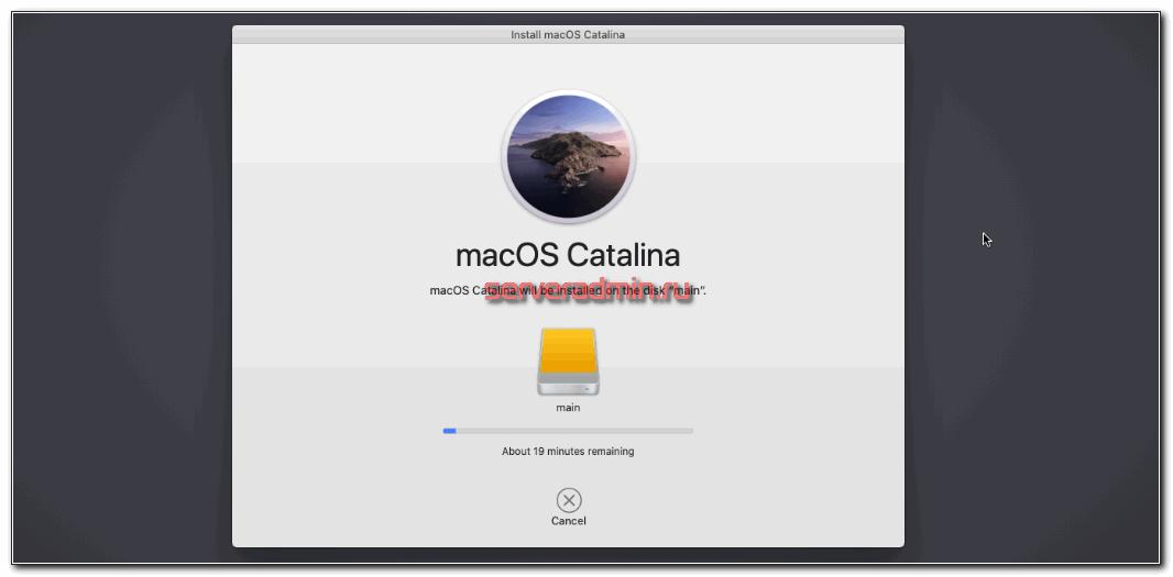 macOS catalina progress installation on proxmox